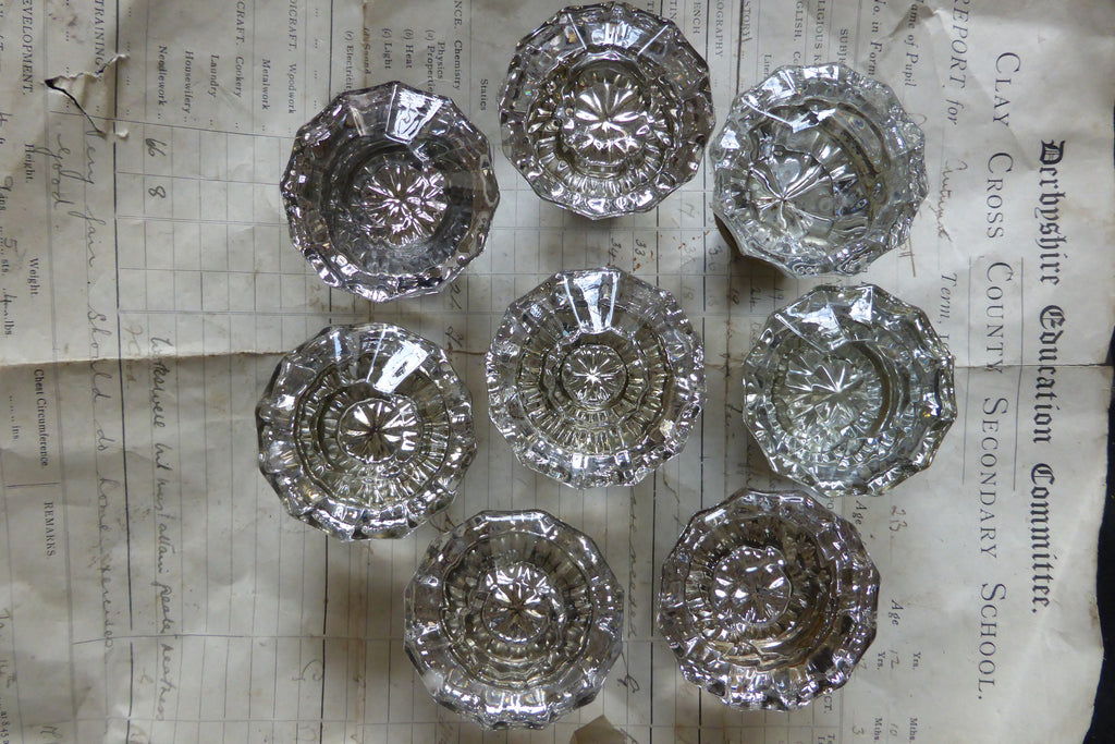4 Pairs Antique 12 Sided Glass & Brass Door Knobs - Purple tint