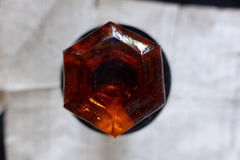 Tiny Antique Amber Cut Glass & Brass Drawer Knob