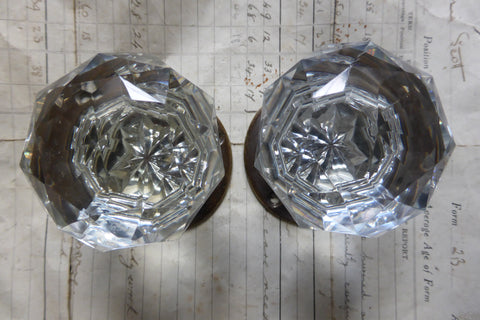 Pair Vintage Cut Glass & Brass Door Knobs