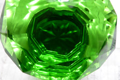 Vintage Green Cut Glass & Brass Door Knob - Nickle Backplate