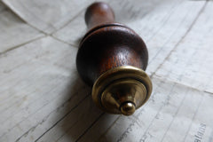 Antique Wood and Brass High Level Toilet Cistern Pull