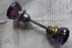 Rare Antique Deep Amethyst Glass & Brass Door Knobs Circa 1800s