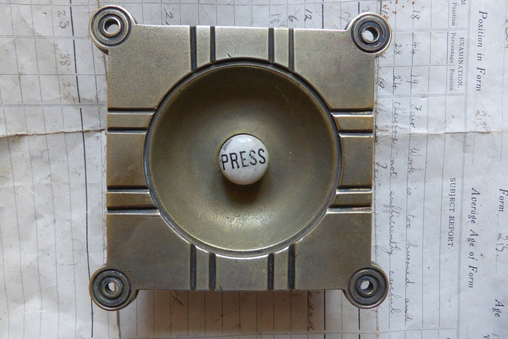 Antique Arts & Crafts Brass & China Electric Door Bell Push - 4""