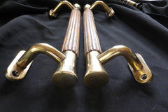 Vintage Wood & Brass Entrance Double Door Pull Handles - Teka