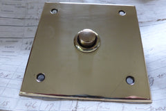 Vintage Square Brass Electric Door Bell Push - Flush