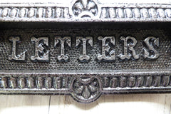 Ornate Antique Cast Iron Letterbox Lozenge Dated 1880