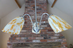 Art Deco 3 Arm Opal, Orange Glass & Chrome Ceiling Pendant