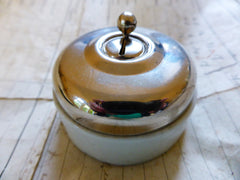 Vintage Art Deco Chrome, Brass, Ceramic reclaimed Dolly Switch