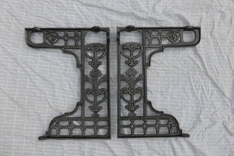 Victorian Cast Iron Throne Toilet Seat Floor Brackets - Biclam 1896