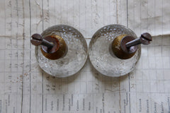 Two Vintage Miller Patterned Glass Drawer Knobs 1970s