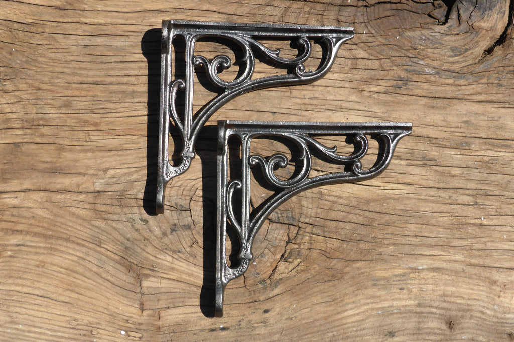 "7 1/2"" Antique High Level Cast Iron Toilet Cistern Brackets - Ornate 1903"