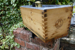 "Restored Wood & Brass High Level Toilet Cistern ""Arno"" - Wax Pine Finish"