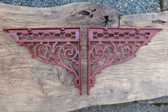 "14"" Restored Ornate Cast Iron High Level Toilet Seat or Sink Brackets - dated 1893"