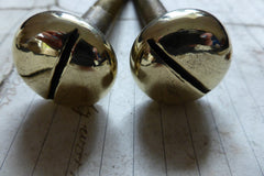 Pair Large Antique Brass Toilet Seat Fixing Nuts and Bolts - Slotted