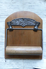 Cast Iron and Wood Antique Toilet Roll / Paper Holder - Hands