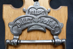 Cast Iron and Wood Antique Toilet Roll / Paper Holder with Provenance - Yelloc