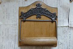 Cast Iron and Wood Antique Toilet Roll / Paper Holder - Albert J & A Mc Fld