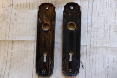 Pair Art Deco Brass Plated Door Backplates / Finger plates Circa 1900 (10 available)