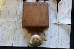 Restored Antique Wood & Brass Electric Conical Doorbell - 12 volts