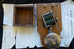 Very Large Restored Art Deco Wood & Brass Electric Doorbell - 5-9 volts
