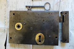 "7"" x 5"" Cast Iron & Brass Door Rim Lock, Key & Keep - Intricate Key"