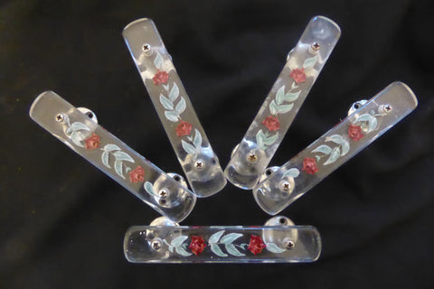5 Art Deco Vintage Lucite & Chrome Drawer / Cupboard Pull Handles - Flower Etched
