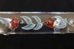 5 Art Deco Vintage Lucite & Chrome Drawer Pull Handles - Flower Etched