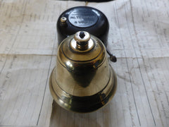 Small Art Deco Vintage Bakelite & Brass Electric Door Bell - 4v