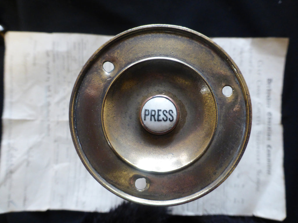 Victorian Brass Electric Door Bell Push - 3""
