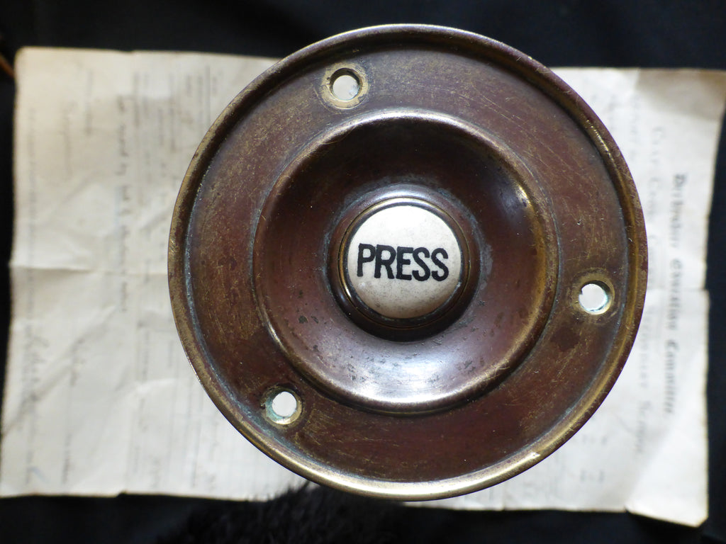 Victorian Brass Electric Door Bell Push - Unrestored