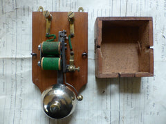 Restored Antique Golden Wood & Brass Electric Doorbell - 4-6 volts