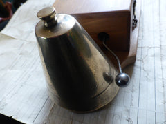 Restored Antique Wood & Chromed Brass Electric Conical Doorbell - 24 Volts