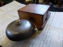 Restored Art Deco Wood & Steel Electric Doorbell - 12 volts