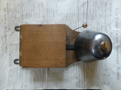Restored Art Deco Wood & Steel Electric Conical Doorbell - 4-6v