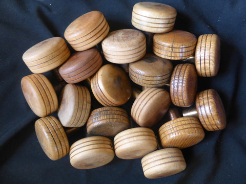 One Pair Antique Arts & Craft Round Wood & Copper/Brass Door Knobs - 10 Pairs available