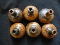One Pair Antique Arts & Craft Round Wood & Steel Door Knobs - 3 Pairs available