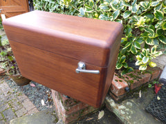 Vintage Restored Semi High Level Japkap Toilet Cistern in Mahogany - Brass & Copper