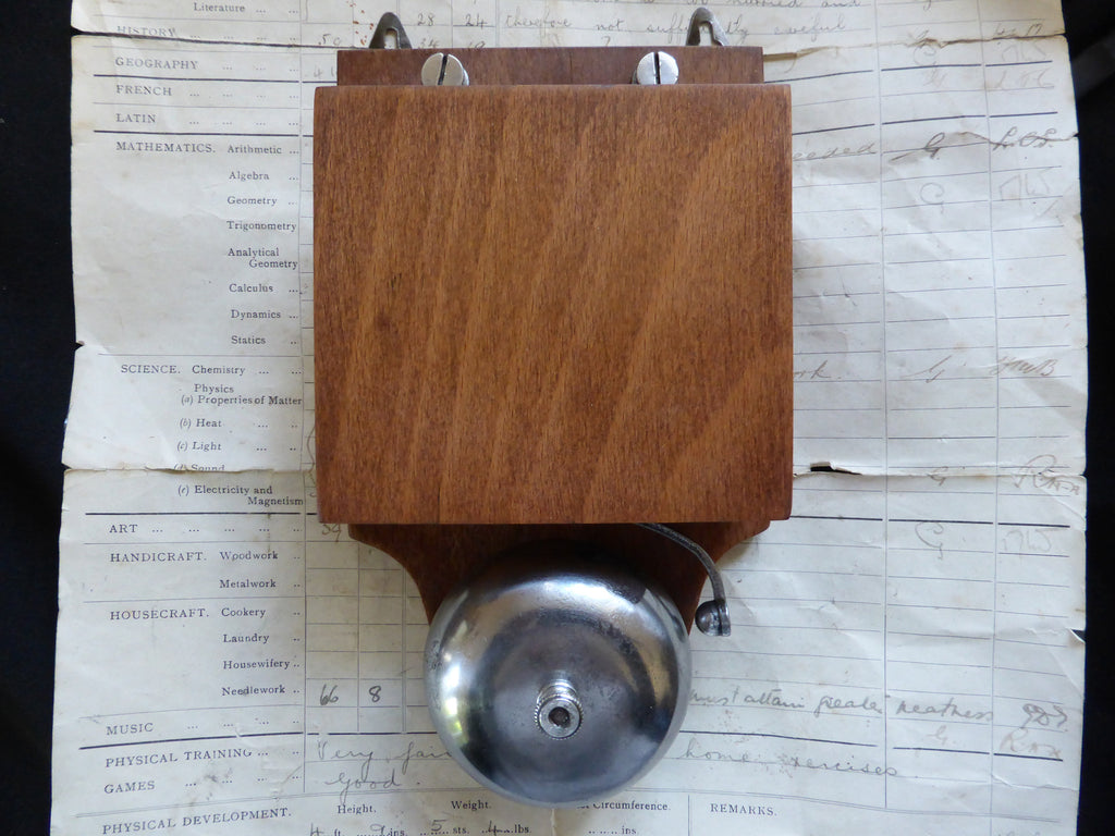 Restored Art Deco Wood & Steel Electric Doorbell - 3-6 volts