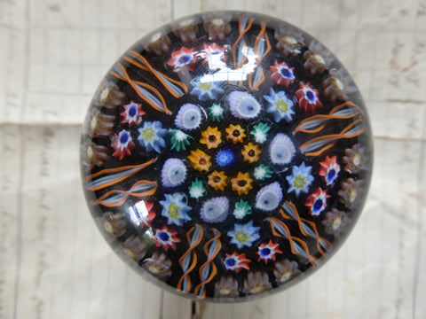 Vintage Millefiori Glass Paperweight Door Handle - Deep Blue Base