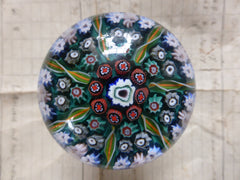 Vintage Millefiori Glass Paperweight Door Handle - Emerald Green Base