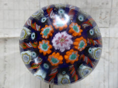 Vintage Millefiori Glass Paperweight Door Handle - Blue Base Orange