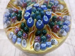 Vintage Millefiori Glass Paperweight Door Handle - Yellow Base