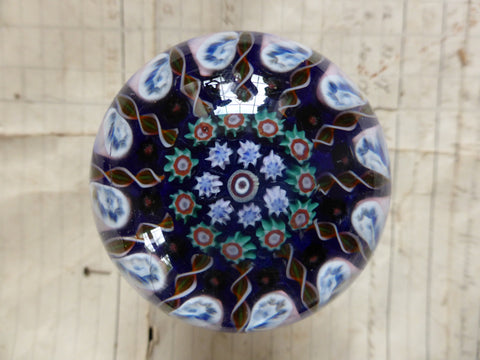 Vintage Millefiori Glass Paperweight Door Handle - Royal Blue Base