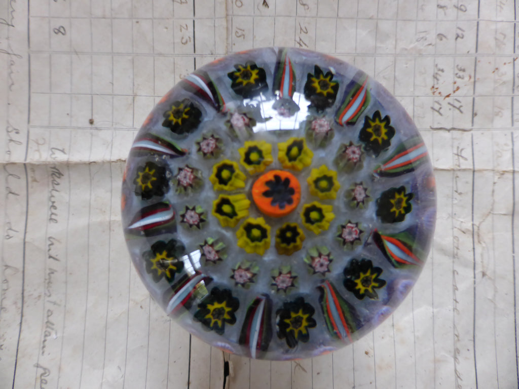 Vintage Millefiori Glass Paperweight Door Handle - Lilac Base