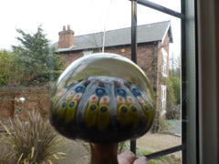 Vintage Millefiori Glass Paperweight Door Handle - Brown Base