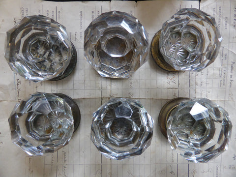 3 pairs Antique Cut Glass Door Knobs & Concealing Back Plates - Hart & Son Pitts London
