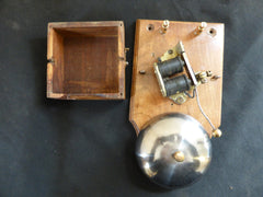Restored Art Deco Wood & Steel Electric Conical Doorbell - 3-4v