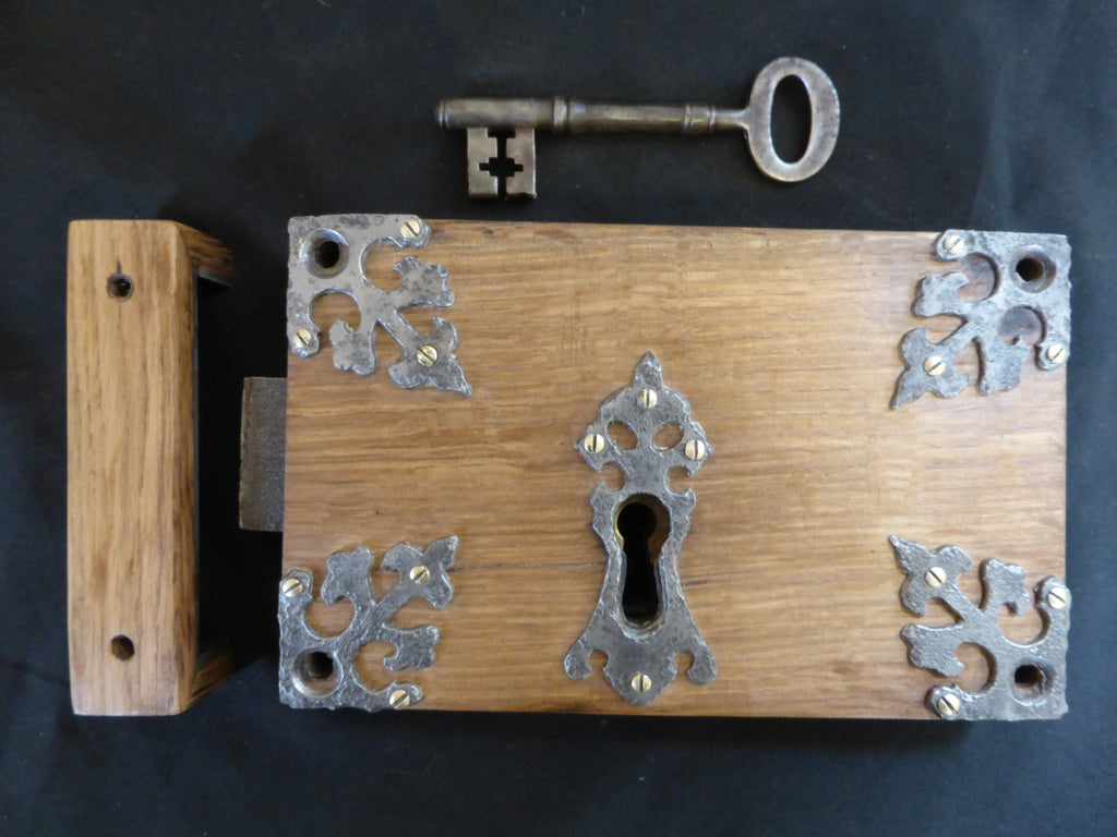 "9 x 5 3/4"" Gothic Reclaimed Wooden & Cast iron Church Carpenter Rim Lock with Key & Keep"