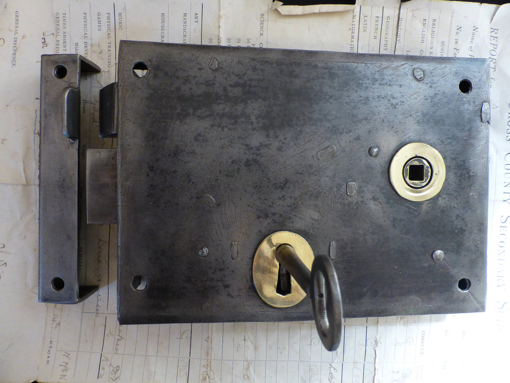 "8"" x 5 3/4"" Victorian Cast Iron Door Rim Lock, Key & Keep"