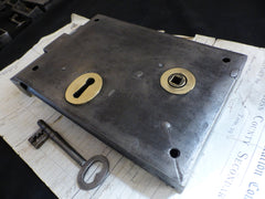 "7"" x 5"" Cast Iron & Brass Door Rim Lock, Key & Keep"
